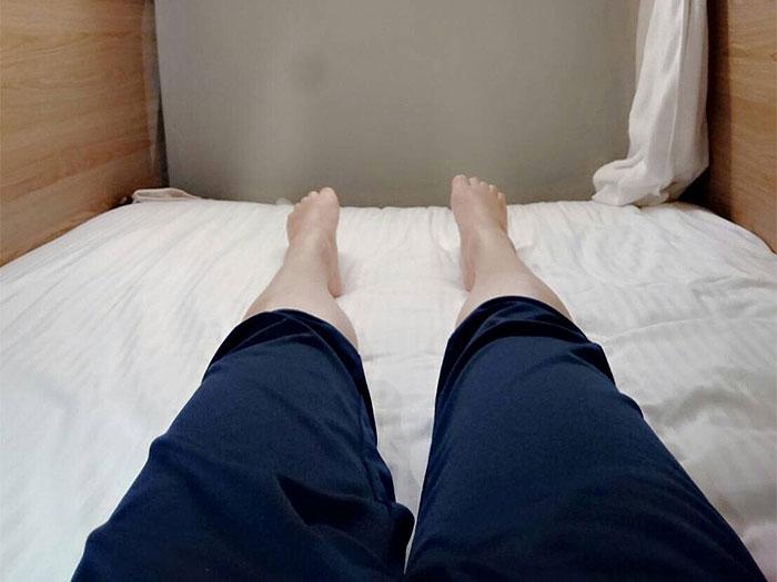 ブティシティカプセルインのベットルームです。足もちゃんと延ばせます。