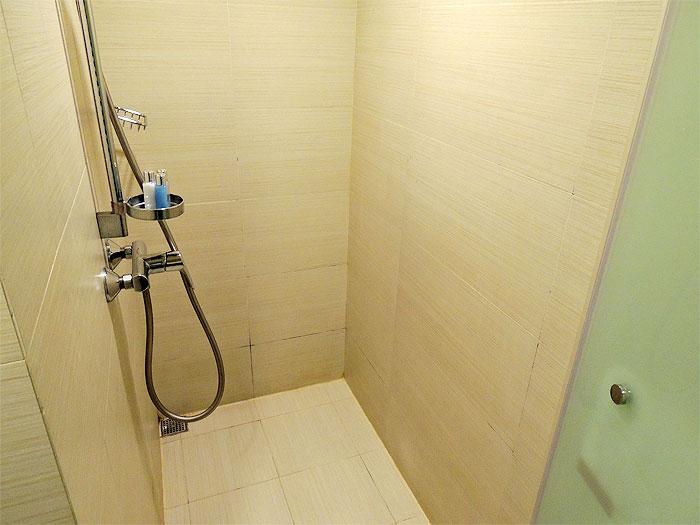 シャワールームには備え付けのシャンプーやボディソープが置いてありました。