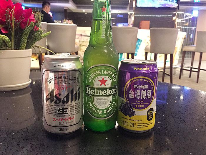 アサヒビール、ハイネケン、台湾ビールの飲み比べもできます!