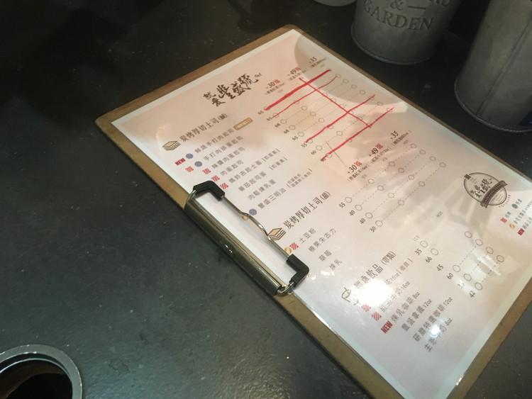 豐盛號のメニューは中国語で書かれていますが指差しで注文できます。