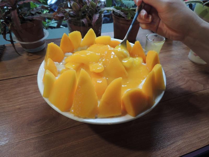 新作メニューのマンゴーファン。これでもか!とマンゴーが敷き詰められています。