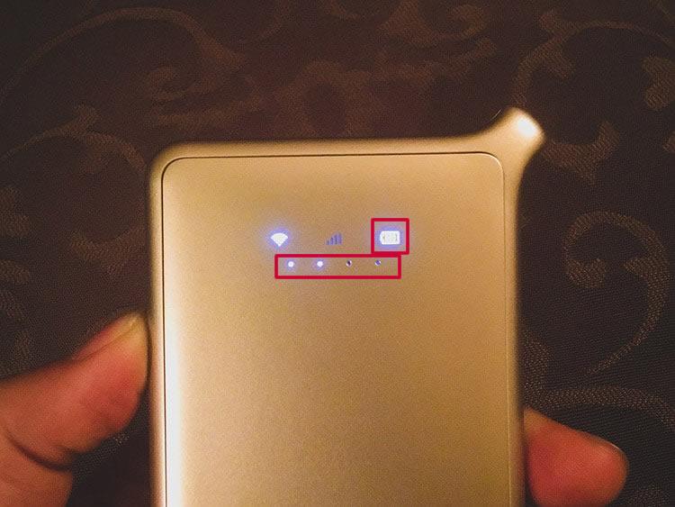 さらに電源ボタンを軽く押すと電池残量が確認できます。